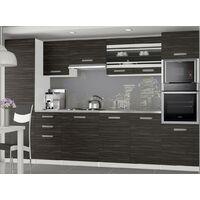 KNOX - Cuisine Complète Modulaire + Linéaire L 300cm 8 pcs - Plan de travail INCLUS - Ensemble armoires meubles cuisine - Ébène