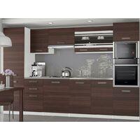 KNOX - Cuisine Complète Modulaire + Linéaire L 300cm 8 pcs - Plan de travail INCLUS - Ensemble armoires meubles cuisine - Châtaigne