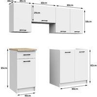 NOLA - Cuisine complète linéaire + modulaire 180cm 5 pcs - Plan de travail INCLUS - Ensemble meubles cuisine - Sonoma