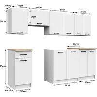 NOLA - Cuisine complète linéaire + modulaire 240cm 7 pcs - Plan de travail INCLUS - Ensemble meubles cuisine - Sonoma