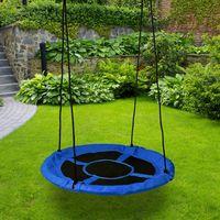AIRON - Balançoire ronde nid d'oiseau enfant/adulte diamètre 100cm - Suspension balançoire intérieur/extérieur jardin max 150kg - Bleu