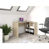 MALOX - Bureau informatique d'angle 2en1 - Bibliothèque Meuble de rangement 4 niches - Table ordinateur multi-rangements - Sonoma