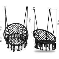 MSTORE - Chaise suspendue balançoire de jardin - Charge maximale 150 kg - Fixation en un ou deux points - Décoration de jardin - Noir