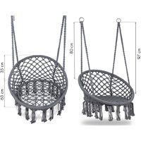 MSTORE - Chaise suspendue balançoire de jardin - Charge maximale 150 kg - Fixation en un ou deux points - Décoration de jardin - Gris