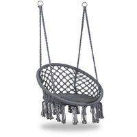 MSTORE - Chaise suspendue balançoire de jardin avec coussin - Charge maximale 150 kg - Fixation à un ou deux points - Déco jardin - Gris