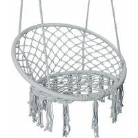 TOGI - Chaise suspendue balançoire de jardin style boho - Charge maximale 120 kg - Fixation à un ou deux points - Déco jardin - Gris