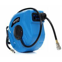 DCRAFT - Tuyau pneumatique enroulé - 30 m - Pression 8-24 bars - Enrouleur automatique - Flexible pneumatique - Bleu