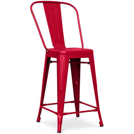 Tabouret Tolix carrée avec dossier Pauchard Style - 60cm Rouge