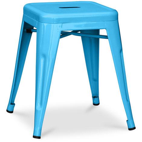 Tabouret Tolix 45cm Pauchard Style - Métal Turquoise