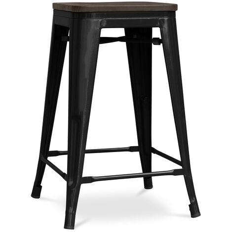 Tabouret Tolix 60cm en bois Pauchard Style - Métal Noir