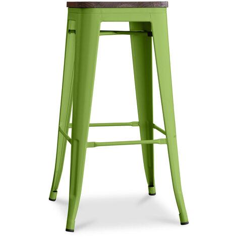 Tabouret Tolix en Bois 76cm Pauchard Style - Métal Vert clair