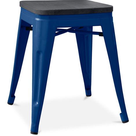 Tabouret style Tolix - 46 cm - Métal et bois foncé Bleu foncé