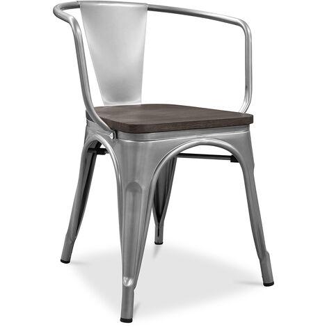 A56 chaise Tolix en bois Pauchard Style Nouvelle édition - Métal Acier