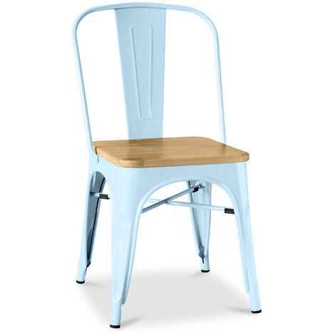 Chaise Tolix Carrée en bois Pauchard Style - Métal Bleu clair