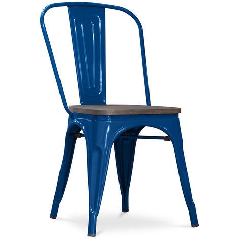Chaise Tolix en bois Pauchard Style Nouvelle édition - Métal Bleu foncé