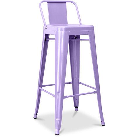 Tabouret Tolix avec petit dossier Pauchard Style - 76cm Violet pastel