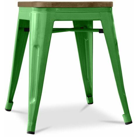 Tabouret Tolix 45cm en bois Pauchard Style - Métal Vert