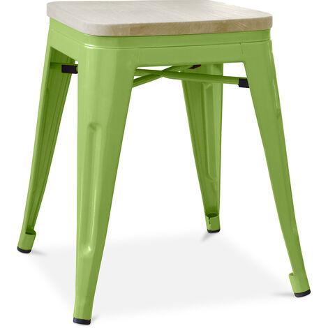 Tabouret style Tolix - 46 cm - Métal et bois clair Vert clair