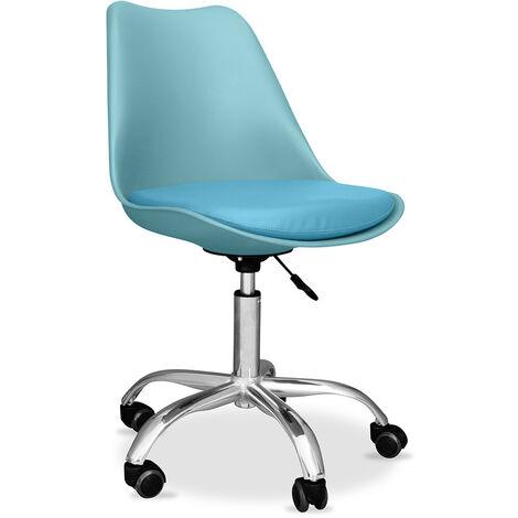 Chaise de bureau Tulip pivotante à roulettes Aquamarine