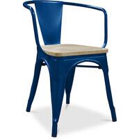 Chaise avec accoudoir style Tolix - Métal et bois clair Bleu foncé