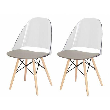 Lot 2 chaises scandinaves transparentes et bois - ANNIE - Transparent