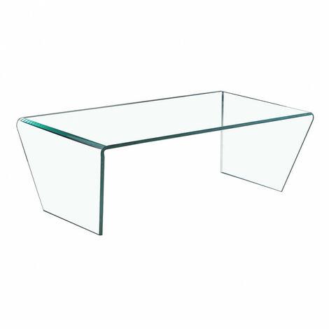 Table basse verre plateau rectangulaire et bords biseautés - ICE - Transparent