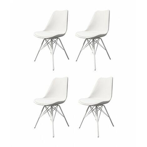Lot 4 chaises blanches et métal style scandinave - TOMY - Blanc