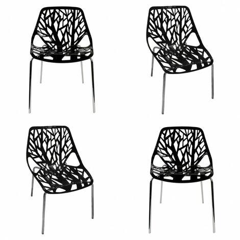 Lot 4 chaises NOIRES design graphique et pieds métal chromé - NOVA - Noir