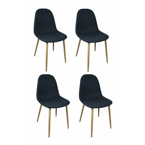 Lot 4 chaises tissu noir bleu marine - EMMA - Noir