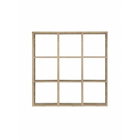 Étagère cube 9 casiers décor chêne - Classico - Bois