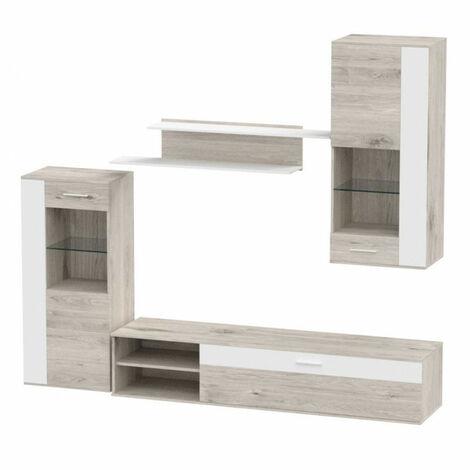 Ensemble meuble TV paroie murale aspect chêne sable et blanc - UNIK - Blanc et gris