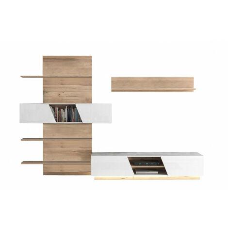 Ensemble meuble TV paroi murale blanc et aspect chêne clair - NOVA - Beige et blanc