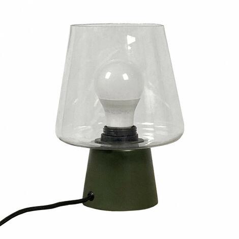 Lampe à poser en métal vert et cloche en verre - BREE - Vert