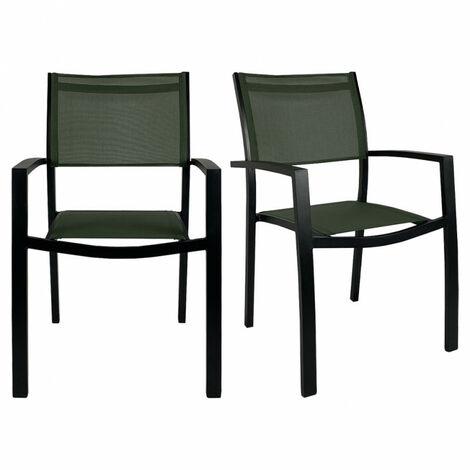 Lot 2 chaises de jardin empilables en aluminium et textilène vert foncé - LEXA - Vert