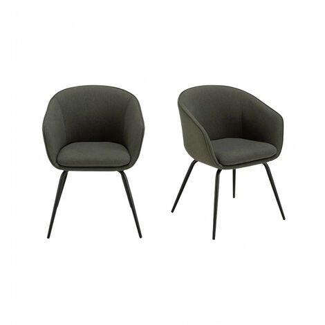 Lot de 2 chaises accoudoirs tissu vert pieds acier noir - DEGGY 0907 - Vert