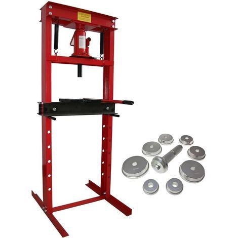 Presse Hydraulique d'Atelier sur Bati 12 tonnes sans manometre + 9 Adaptateurs pour Presse