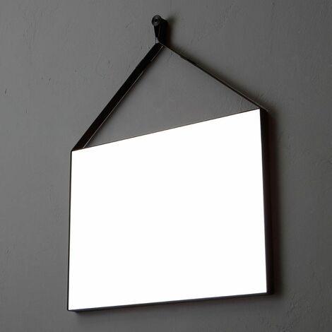 Specchio Rettangolare Cm 70x50 Con Cornice In Ecopelle Nera Per Bagno