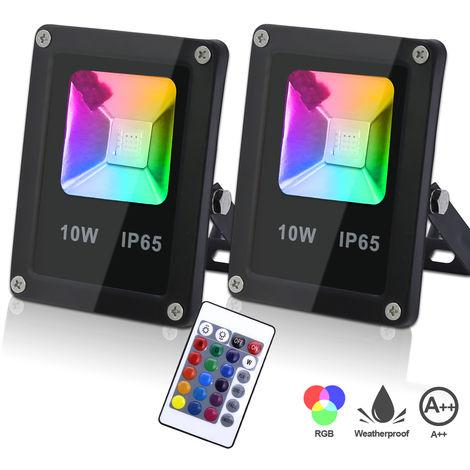50W RGB LED Strahler Fluter Außenstrahler Fernbedienung IP66 Außenstrahler A++