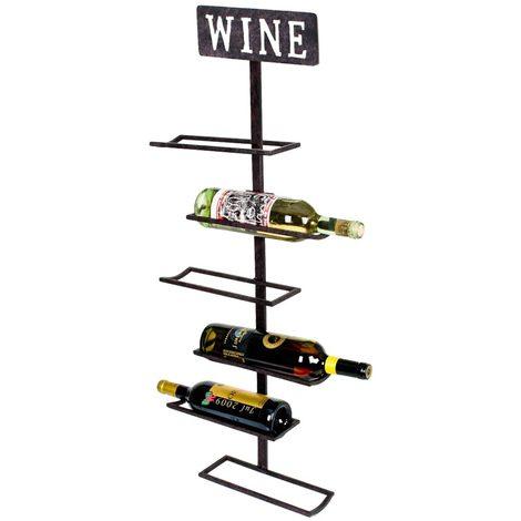 Design Wein Wand Regal 5x Flaschen Hänge Halterung Schriftzug Wine rost farbig HARMS 504865