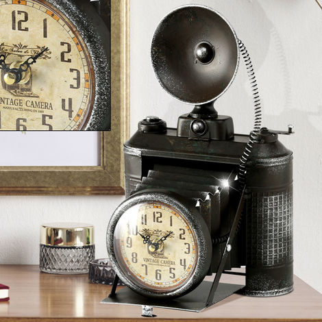 Boltze Retro Design Tisch Stand Uhr Fotoapparat schwarz Shabby Look Dekoration 1018101