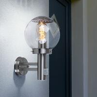 2er Set Außen Leuchten Bewegungsmelder Fassaden Wand Strahler Glas Kugel Lampen Edelstahl IP44