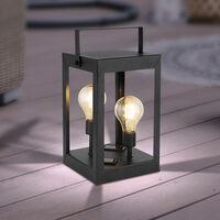 LED Solar Laterne für draußen Gartendeko Solarlampe für Außen Garten Retro, hängend oder stehend, 2x Edison LED 3000K, LxBxH 14x14x28 cm