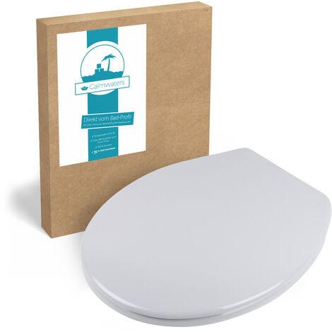 Calmwaters® Antibakterieller WC-Sitz Manhattan-Grau mit Absenkautomatik Essential Soft, Schnellbefestigung Fast-Fix, universale O Form, robuster Duroplast Kunststoff, Manhattan-Grau - 26LP2777