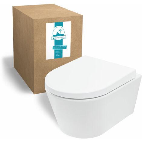 Calmwaters® Honest Small - Hängendes Raumspar-WC mit kurzer Ausladung als Tiefspüler im Komplettset mit WC-Sitz - 08BC2388