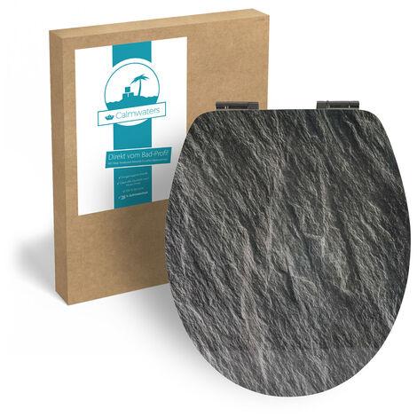 Calmwaters® WC Sitz Motiv Splinter Stone mit doppelter Absenkautomatik, Fast-Fix-Befestigung aus Metall, universale O-Form, stabiler Holzkern Toilettendeckel, Komfort Toilettensitz Stein, 26LP5013