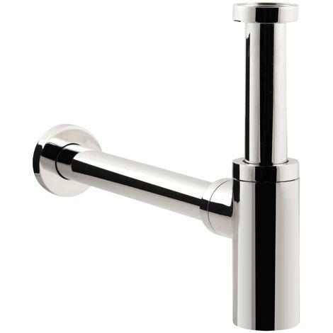 'aquaSu® Design Siphon Exclusiv | Flaschensiphon in 1 1/4 x 32 mm | Reinigungsöffnung | chrom | Geruchsverschluss für Waschbecken | Tassensiphon 300 mm Länge | Metall | 22683 7