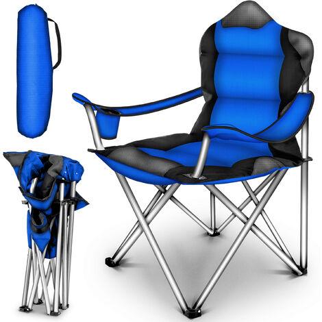 TRESKO Chaise de camping pliante BLEU | jusqu'à 150 kg