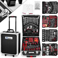TRESKO Valise multi outils 949 pièces Noir Boite à Outils Coffre en Acier Chromé Vanadium et Trolley