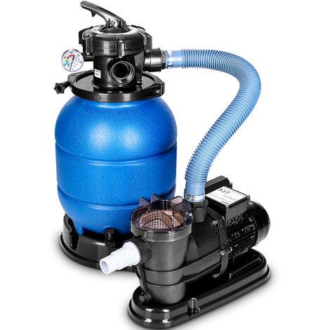 tillvex Depuradora de Agua para Piscina 10 m³/h Gris - 5 Funciones de Filtrado - Bomba de Filtro de Arena con Válvula