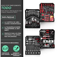 TRESKO® Maletín de Herramientas 949 Piezas Negro | Portaherramientas Portátil | Set / Caja con herramientas | Maleta de Cromo Vanadio y Acero